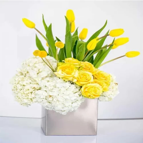 10 yellow tulip with yellow rose and 2 hydrangea