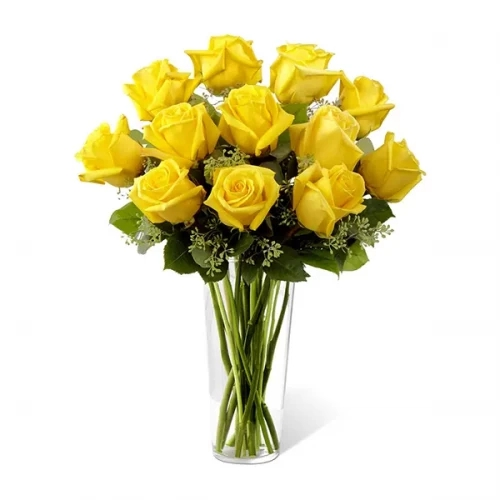 15 yellow rose with glass vase