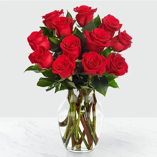 12 Rose with glass vase