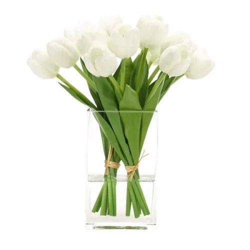 20 white tulip with glass vase