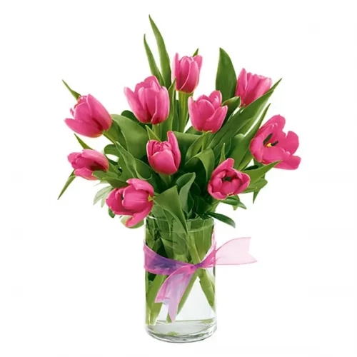 20 pink tulip with glass vase