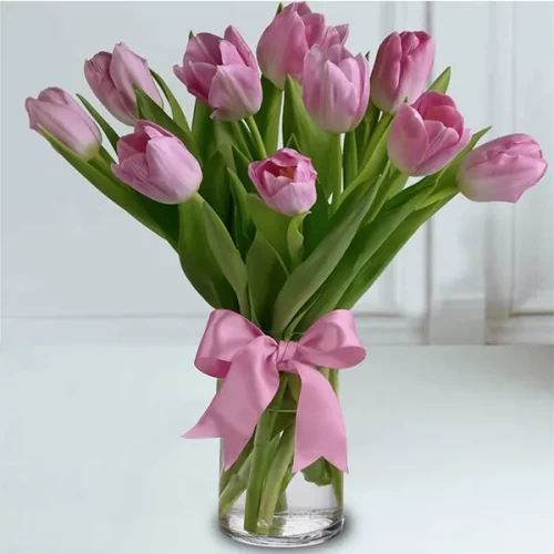 10 Pink Tulip with glass vase