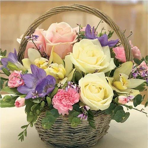 mix flower Pink handle basket argument