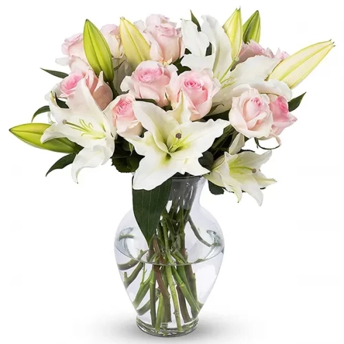 10 pink Rose 3 stm white Lily's