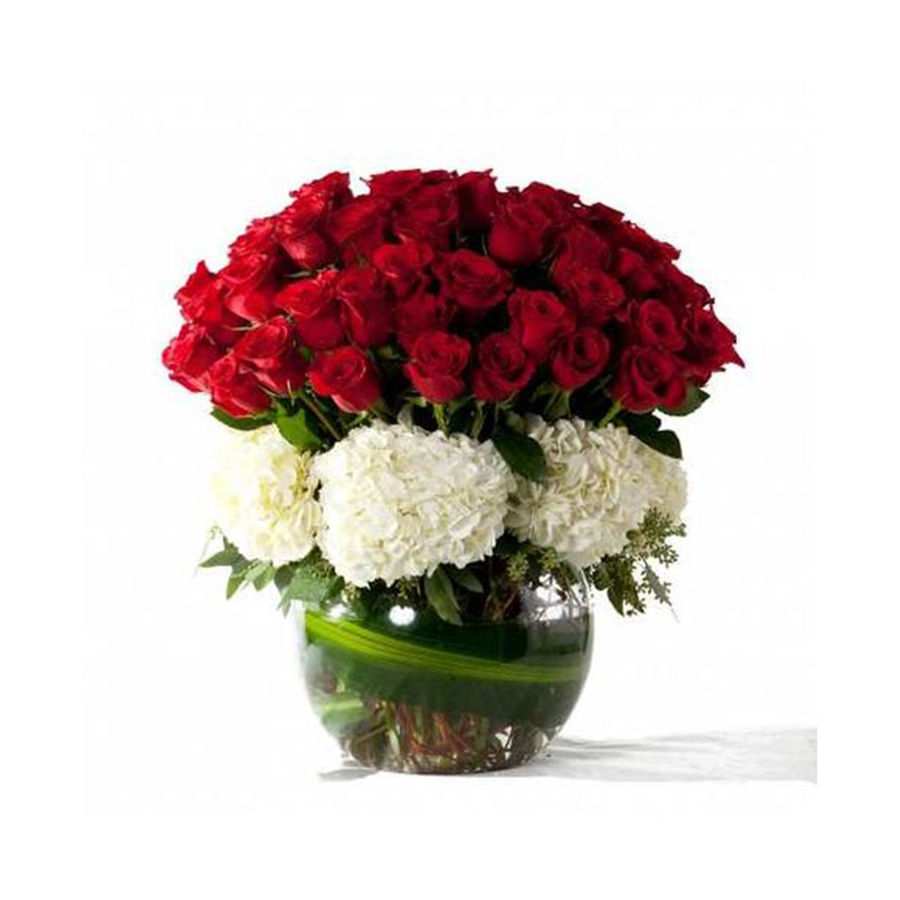 30 Red rose 5 Hydrangea with glass vase