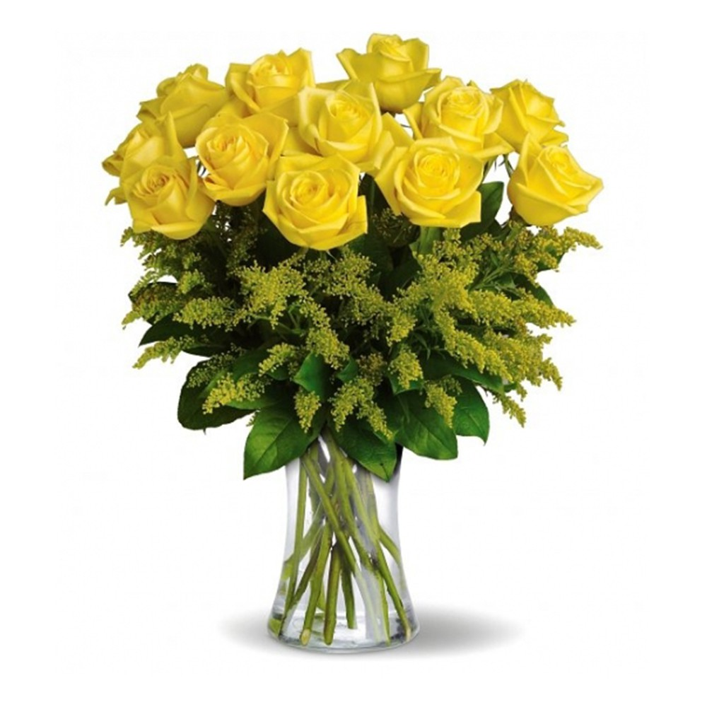 10 yellow infinity rose with glass vase