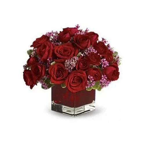20 red Rose with glass vase