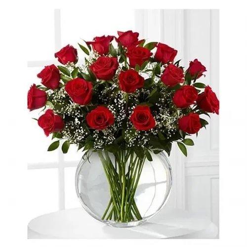 Elegant Red Roes white glass vase arrangement