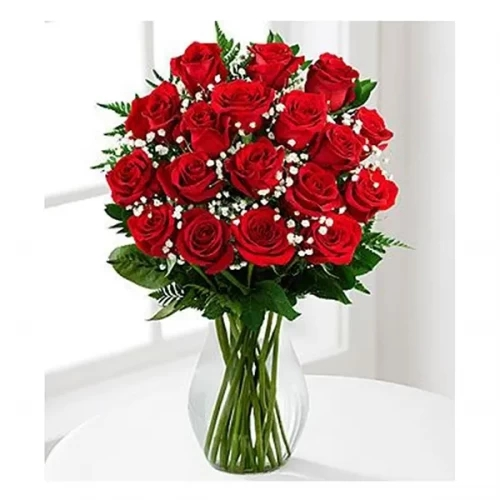 25 red rose with glass vase arrangement