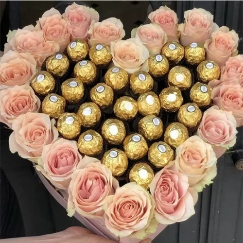 20 light pink rose with 16 Chocolate