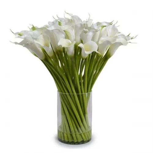 10 White Calla Lily Arrangement with glass vase