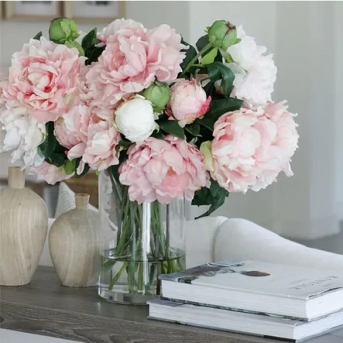 10 pink peony with Green leaves with glass vase