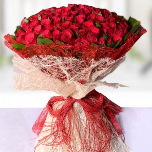 50 red Rose bouquet with nice rapping