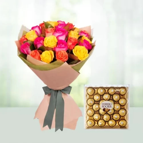 12 Mix Rose Bouquet with 24 pc Ferrero Rocher Chocolate