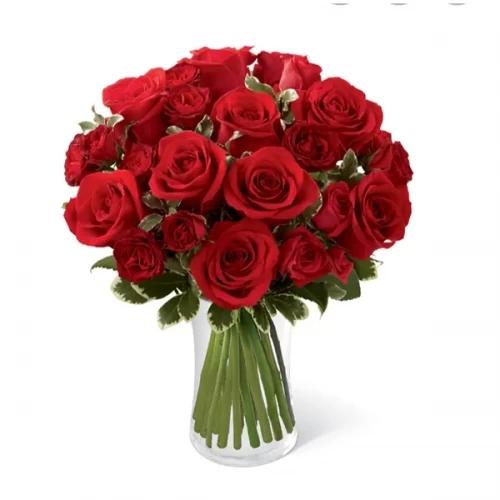 10 red rose 5 Steam red baby rose bouquet