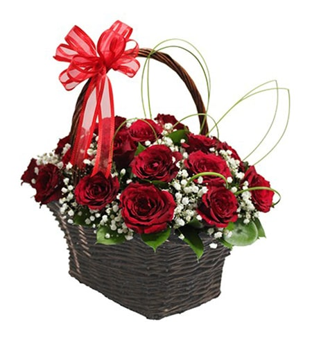 20 red rose & green leafes in a handle basket
