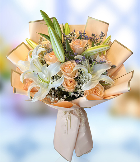 Delighting Pink Lily  and Pink Rose Bouquet