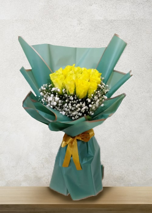 20 yellow rose bouquet