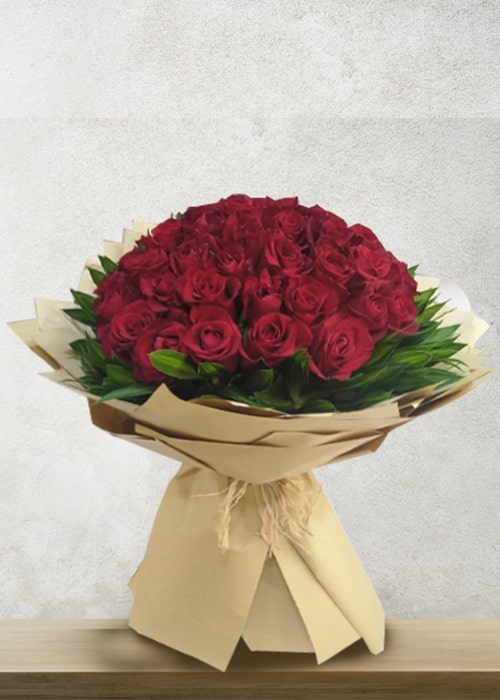 50 red rose bouquet with green lives