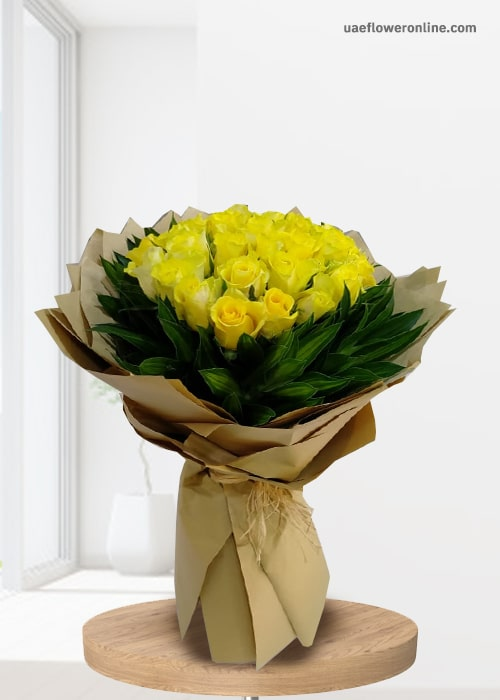 25  yellow rose bouquet with green leaf