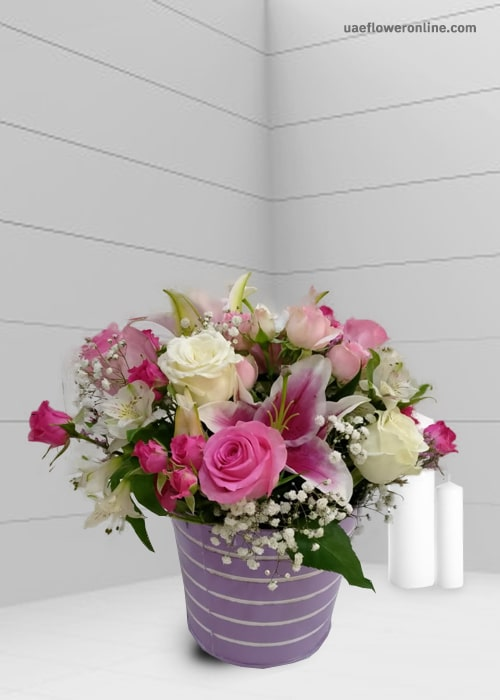 Arrangement 4 pink rose 3 white rose and lily