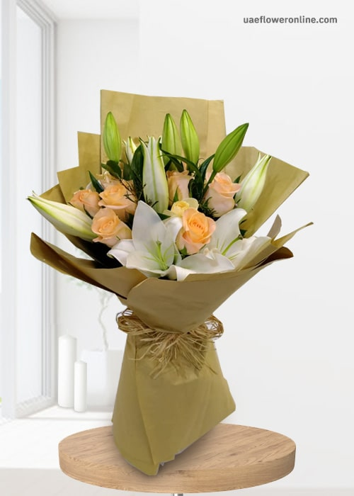2 Stem Lily white 10 peach rose paper wrapping