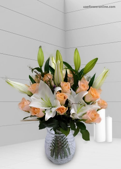 2 stem white Lily 15 peace rose with glass vase