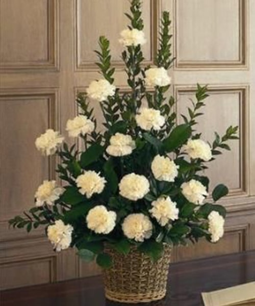 Basket of 18 white carnation with green lives