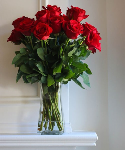 20 Red rose with a glass vase