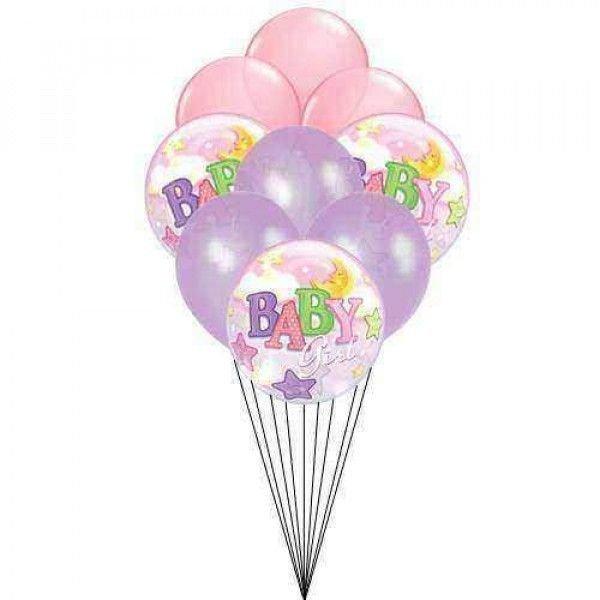 7 pc mixed baby girl balloons