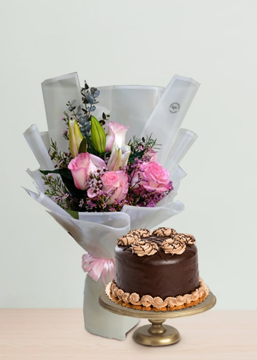 Bunch of 1 Pink Lily and 5 pink rose with chocolate cake