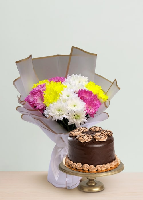 Exotic Beauty Bouquet with chocolate cake