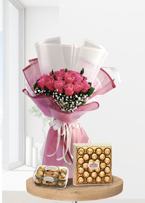 light pink rose bouquet with ferrero rocher chocolates