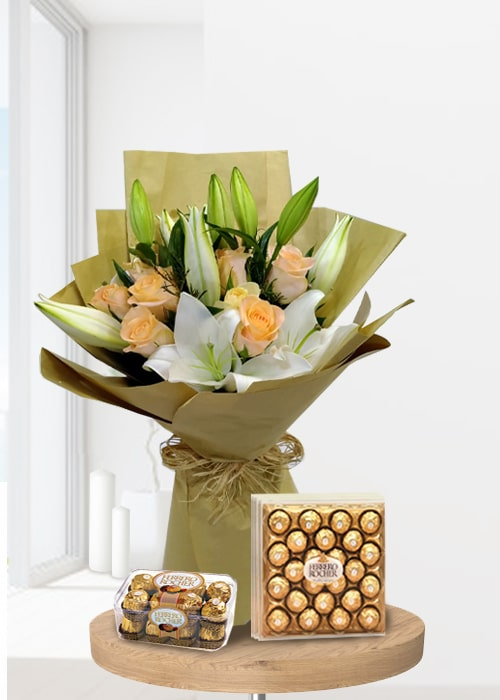 Lily white 10 peach rose paper wrapping with ferrero rocher chocolates
