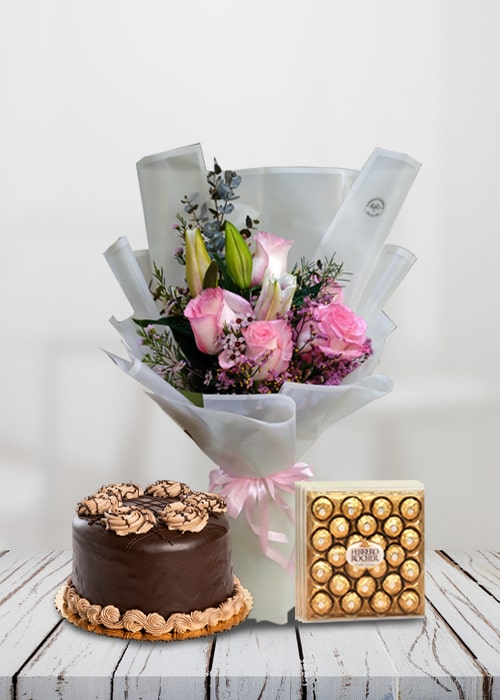 Bunch of 1 Pink Lily and 5 pink rose with cake combo