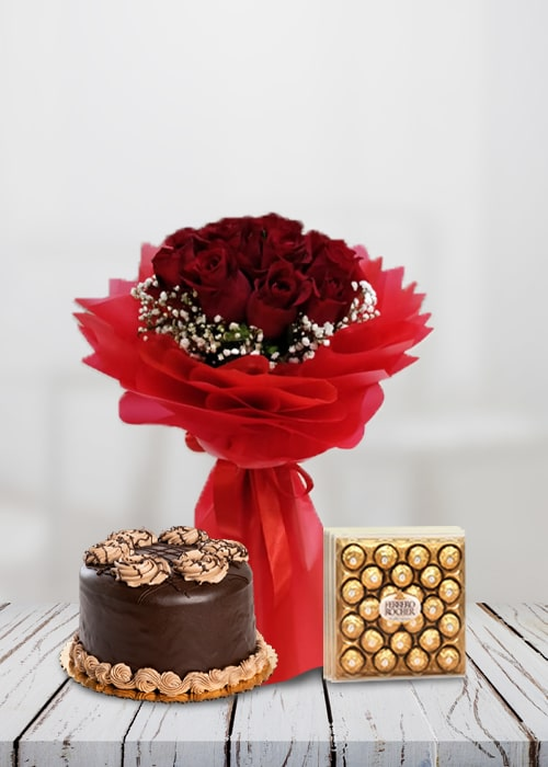 10 red rose bouquet with cake combo