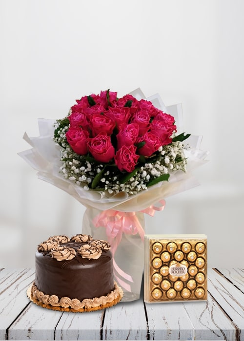 10 pink rose bouquet with cake combo