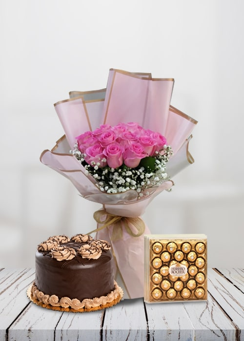 12 stem light pink rose bouquet with cake combo