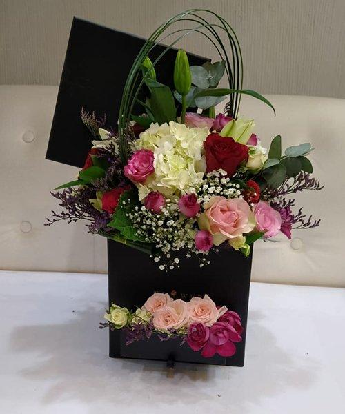 Lavishing mix flower box arrangement