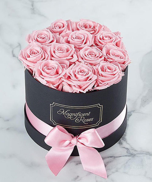 Rich celebration with pink flower box
