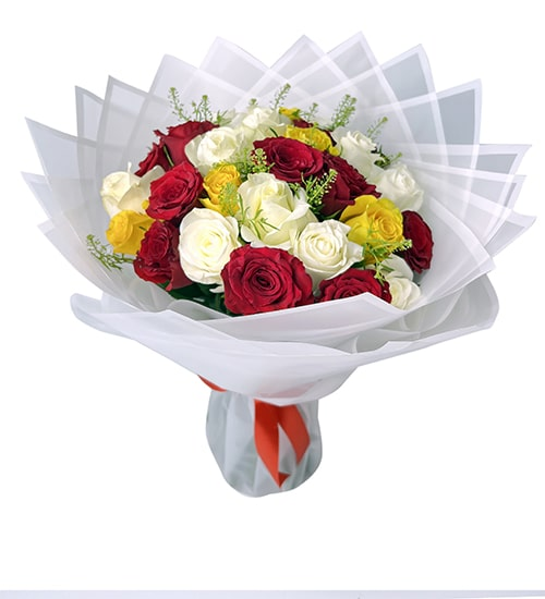 Pleasant 15 red and white roses bouquet