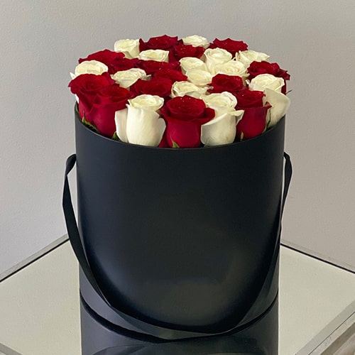Alluring Mix Red and White Roses Box