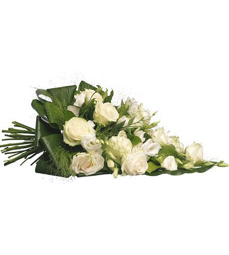 White rose funeral bouquet with green leafs