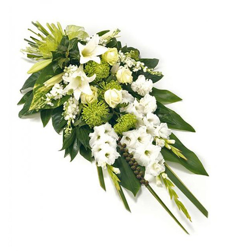 Funeral flowers bouquet with white rose and lily