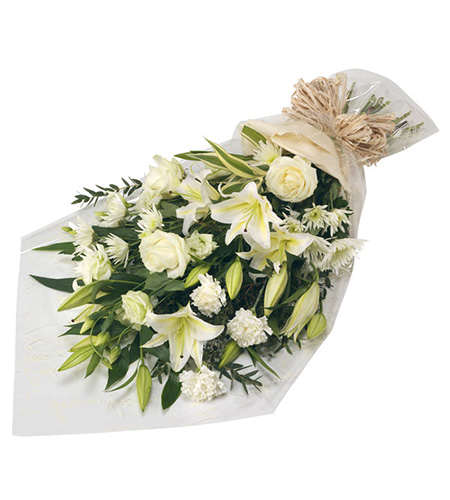 Funeral flowers bouquet with white rose