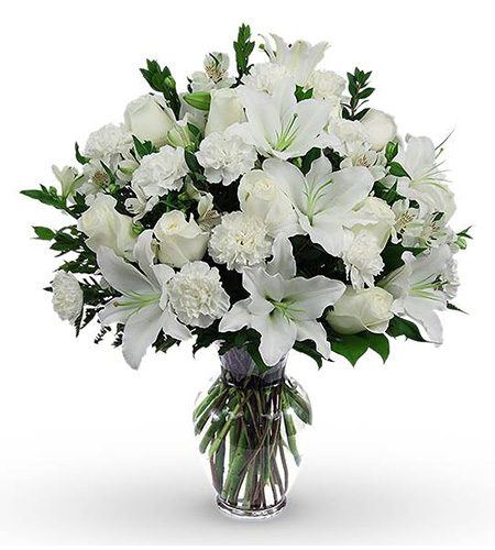 White lily and rose glass vase arrangement