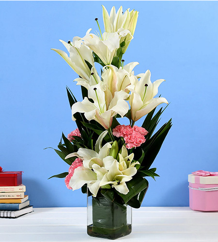 White Lilies & Pink Carnations in Glass Vase