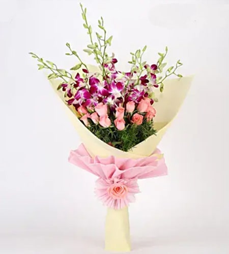 Beautiful Bouquet Of Orchids & Roses