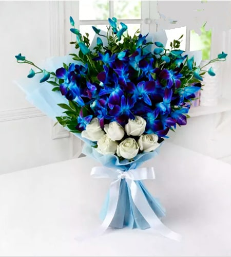 Elegant Blue orchids and White rose Bouquet