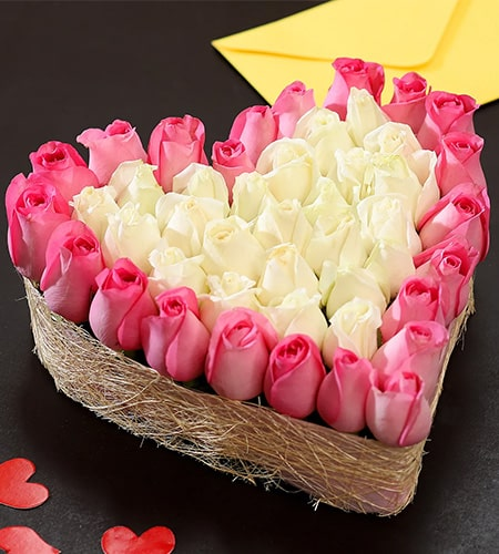 Pink & White Roses Heart